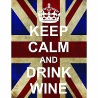 L2518 LARGE KEEP CALM DRINK WINE FUNNY UNION JACK METAL SIGN NEW