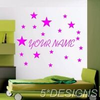 PERSONALISED YOUR NAME WALL STICKER DECAL KIDS VINYL DECAL STARS CUSTOM TEXT