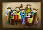 Orchestra Band Perform Roybal Musicians Playing Music Art FRAMED OIL PAINTING