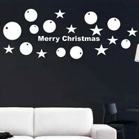 MERRY CHRISTMAS BAUBLES STARS XMAS VINYL WALL STICKERS ART DECALS DECORTAIONS