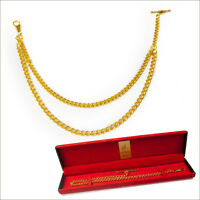 New Gold Colour  Albert Pocket Watch Fob Double Chain with Gift Box 017C