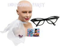 50's Grease Pink lady Girl Rock n Roll BLACK Glasses WHITE Scarf fancy Dress SET