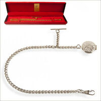 New Silver Colour Albert Single Pocket  Watch Chain With Locket 17K