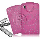PINK BLING DIAMOND LEATHER FLIP CASE COVER POUCH FOR BLACKBERRY 9300 CURVE