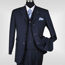 New Men's 3 piece Milano Moda Elegant and Classic Stripes Suit Navy 5267