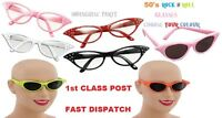 ladies 40s 50's 60s 70s Rock N Roll Grease Pink Lady fancy Dress Costume Glasses