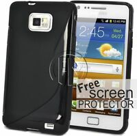 BLACK WAVE S LINE GRIP GEL CASE SILICON COVER FOR SAMSUNG GALAXY S2 I9100