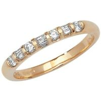 9ct Yellow Gold 25pt Diamond Eternity Ring with Baguette & Round Stones *RD182