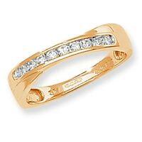 9ct Yellow Gold 25pt Diamond Crossover Eternity Ring *RD365