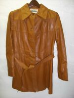 Womens NEIMAN MARCUS Long Brown Leather Jacket Sz 10