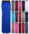 LADIES PLAIN CONTRAST ELASTIC WAIST WOMENS LONG STRAIGHT MAXI DRESS SUMMER SKIRT