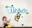 Removable Monkey Birds And Baby's Name Vinyl Wall Paper Decal Art Sticker X486-1