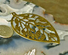 60x40mm Antique Bronze Plated Stamping Filigree Leaf Wraps Pendant bp44b (4pcs)