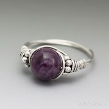 Charoite Bali Sterling Silver Wire Wrapped Bead Ring ANY size