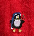 Personalized Embroidered Christmas Penguin Red Hand Towel - 100% Cotton Lombs