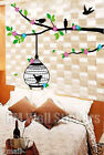 HANGING BIRD CAGE & BIRDS WITH TREE BRANCH Removable Wall Sticker