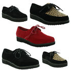 New Ladies Lace Up Flat Platform Brothel Goth Creepers Punk Shoes UK 3 4 5 6 7 8