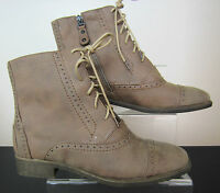 Ladies Spot On Ankle Boots - Lace Up or Zip Fastening - Brown - F5817