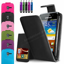 LEATHER FLIP WALLET CASE COVER FOR SAMSUNG GALAXY ACE 2 I8160 & SCREEN PROTECTOR