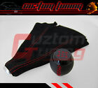 HONDA CIVIC SI COUPE 5 SPEED BLK LEATHER SHIFT KNOB+SUEDE BOOT RED STITCH COMBO
