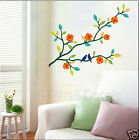 BIRDS ON THE BRANCH WITH YELLOW FLOWERS WALL DECAL FOR YOUR HOME