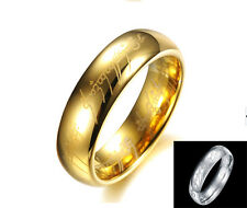 Men 's Tungsten Carbide Ring 18k Gold Plated The Lord of the Rings Wedding Band