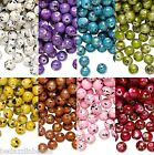 Big Lot of 800 Plastic Acrylic 6mm Round Beads with Speckled Gold Black & Silver