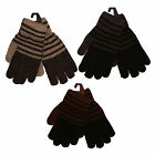 Mens Striped Winter Warm Wool Blend Gloves