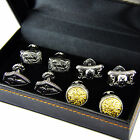A Set Of FOUR Pairs Of Platinum Plated Cufflinks Cuff Links buttons SET A