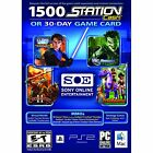 SONY 30 Day Universal Game Card or 1,500 Station Cash Windows Vista / 7 / XP NEW