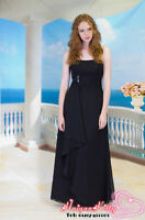 black chiffon wedding bridesmaid dress evening prom dress SZ 8-22 Lace up back