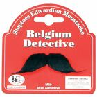 Mens Fancy Dress Costume Belgium Detective Hercule Poirot BLACK MOUSTACHE TASH