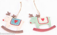 CHRISTMAS CUTE ROCKING RUDOLF REINDEER WOODEN HANGING TREE DECORATION WITH HEART