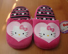 "GIRLS FUZZY ""HELLO KITTY"" SLIPPERS WITH NON-SKID BOTTOMS SIZES (13-1 TO 2-3)"