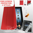 iPad 2 3 4 Smart Cover Case Basketball Pattern Red + Screen Protector & Stylus