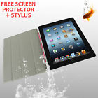 iPad 2 3 4 Slim Magnetic Smart Cover Style Case Pink + Screen Protector & Stylus
