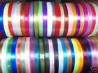 50 x ROLLS OF SATIN RIBBON, 50 Different Colours, Size 6 MM, Big lot, very cheap