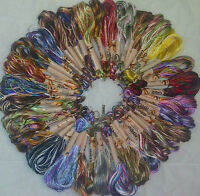 30 Embroidery Skeins Large Art Silk/Rayon Stranded Multi Coloured Threads