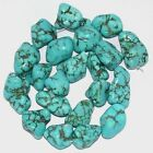 Cyan Howlite Turquoise Vein Nugget Freeform Gemstone Loose Beads For SP Jewelry