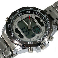 ELEGANT DUAL SOLAR CHRONOGRAPH ANALOGUE DIGITAL HOURS DATE MED LCD MEN WATCH,B91