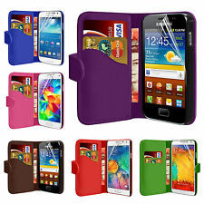 Leather Wallet Flip Case Cover For SAMSUNG GALAXY ACE S5830 + Screen Protector