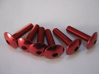 M6 x 25 mm button head socket cap bolt, red anodised