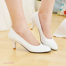 Women's Comfort Flower Mid Heels Pumps Party Pointed Toe Shoes AU ALL Size Z187