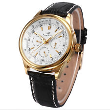 KS Date Day 24 Hours Leather Wrist Men Automatic Mechanical Watch