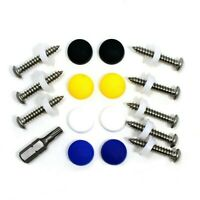 """17 PCE NUMBER PLATE FIXING KIT - 1"""" SELF TAPPERS , DOME SCREW CAPS & DRIVER BIT"""