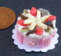1:12 Scale Cake With Strawberry Icing Doll House Miniature Accessory NC87