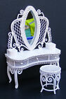 1:12 Scale White Wire Dressing Table & Stool Dolls House Miniature Bedroom 531