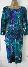 M&S Per Una Green Purple Vintage Style Pencil Wiggle Dress Top Marks & Spencer