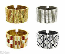 Men And Lady 12 Row Gold,Silver,Black Crystal Iced Out Hip Hop Bling Bracelet 8""