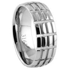 New Stainless Steel Textured Tread Design Wedding Band Ring 8mm